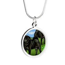 pugsloan copy Silver Round Necklace