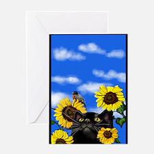 blackcatsunfl copy Greeting Card