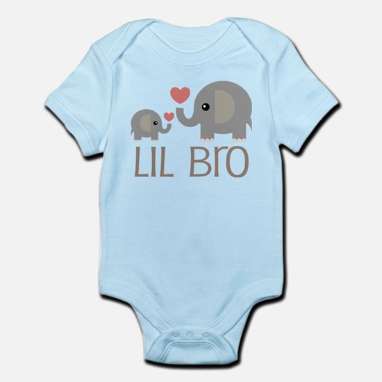 Lil Bro Elephant Matching Siblings Body Suit