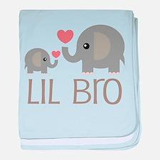 Lil Bro Elephant Matching Siblings baby blanket