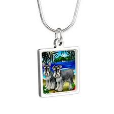 schnauzerbeachdogs copy Silver Square Necklace