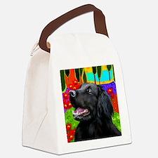 flatcoatedhead copy Canvas Lunch Bag
