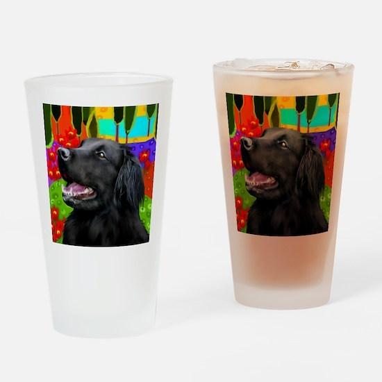 flatcoatedhead copy Drinking Glass