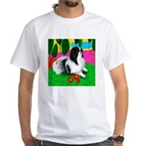 Japanese chin Mens White T-shirts