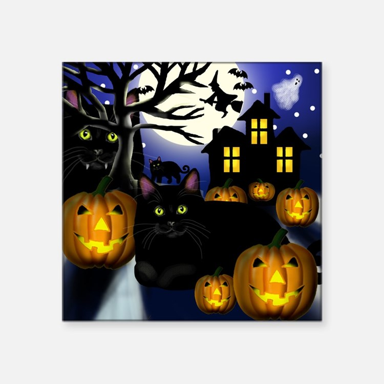 "halloweencats copy Square Sticker 3"" x 3"""