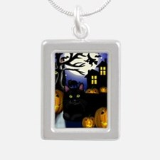 halloweencats copy Silver Portrait Necklace