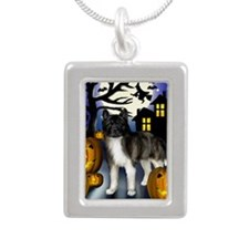 akitahalloween copy Silver Portrait Necklace