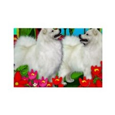 samoyedsunsetpr Rectangle Magnet