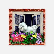 "windowBichon Frise copy Square Sticker 3"" x 3"""