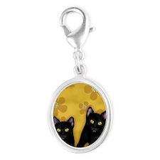 blackcats2 copyls Silver Oval Charm