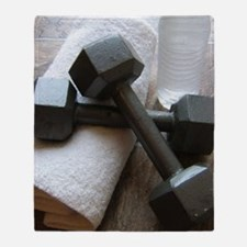 Fitness Gym Dumbells Throw Blanket