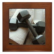 Fitness Gym Dumbells Framed Tile