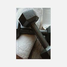 Fitness Gym Dumbells Rectangle Magnet