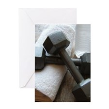 Fitness Gym Dumbells Greeting Card