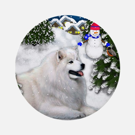 samoyedvilagesn copy Round Ornament