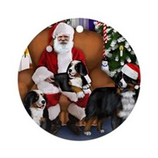 santa clousbernese copy Round Ornament