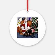 santa clous flatcoat Round Ornament