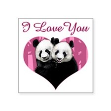 "panda black Square Sticker 3"" x 3"""