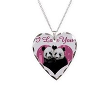 panda black Necklace Heart Charm