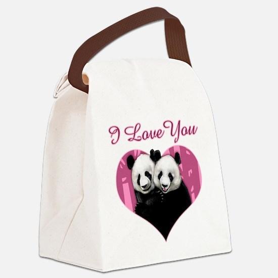panda black Canvas Lunch Bag