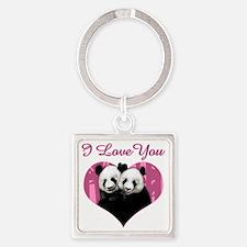 panda black Square Keychain