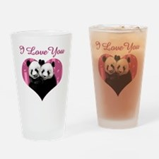 panda black Drinking Glass
