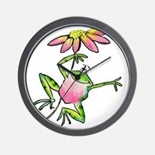 Happy Leaping Frog with Daisy Umbrella Wall Clock