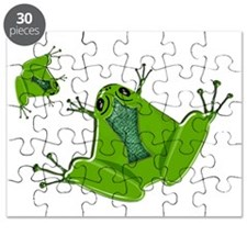 Pair of Flat Green Frogs Puzzle