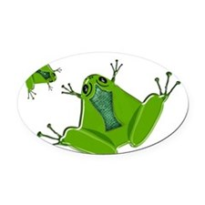 Pair of Flat Green Frogs Oval Car Magnet
