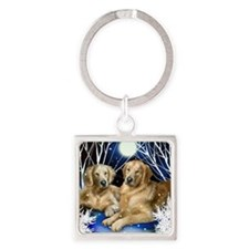 goldenretrievers snown copy Square Keychain