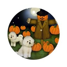 Scarecrowbichon copy Round Ornament