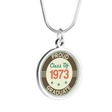 Vintage Class of 1973 Silver Round Necklace