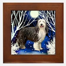 beardedcollie snown copy Framed Tile