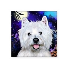 "westie moon copy Square Sticker 3"" x 3"""