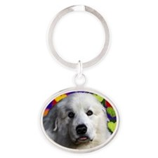 Great Pyrenees love copy Oval Keychain