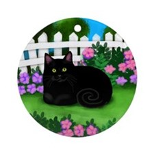 bl cat garden fence copy Round Ornament