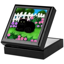 bl cat garden fence copy Keepsake Box