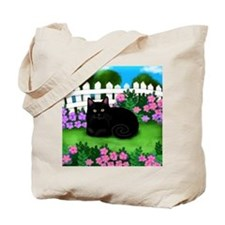 bl cat garden fence copy Tote Bag