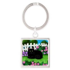 bl cat garden fence copy Square Keychain