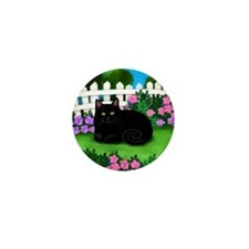 bl cat garden fence copy Mini Button