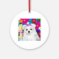 maltese puppy copy Round Ornament