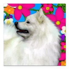 "samoyed flowers copy Square Car Magnet 3"" x 3"""