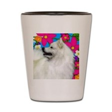 samoyed flowers copy Shot Glass