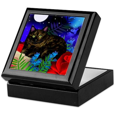 tortoiseshell cat moon 2 copy Keepsake Box