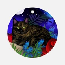 tortoiseshell cat moon 2 copy Round Ornament
