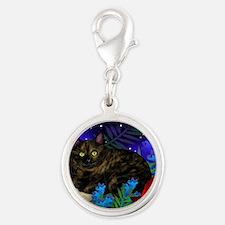 tortoiseshell cat moon 2 copy Silver Round Charm