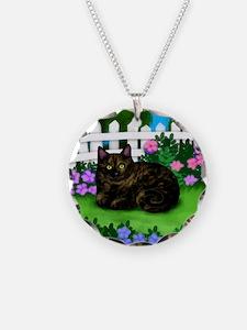 TORTOISESHELL CAT garden cop Necklace