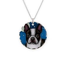 boston terrier moon Necklace