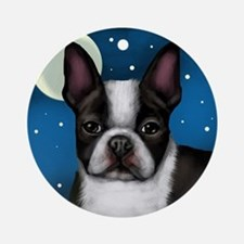 boston terrier moon Round Ornament
