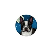 boston terrier moon Mini Button